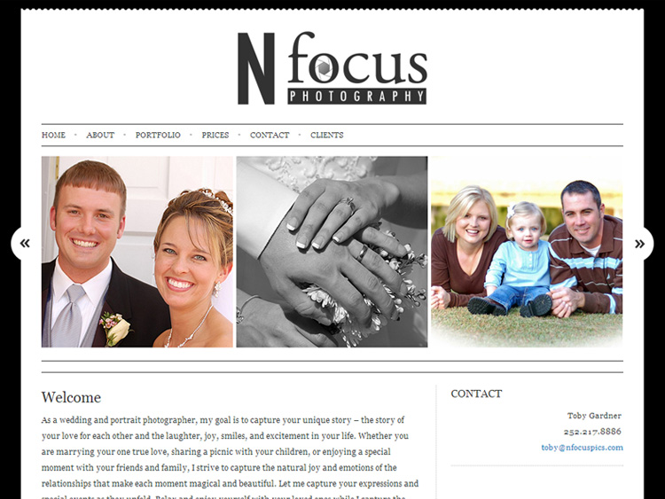 nfocusphotographywebsitedesign