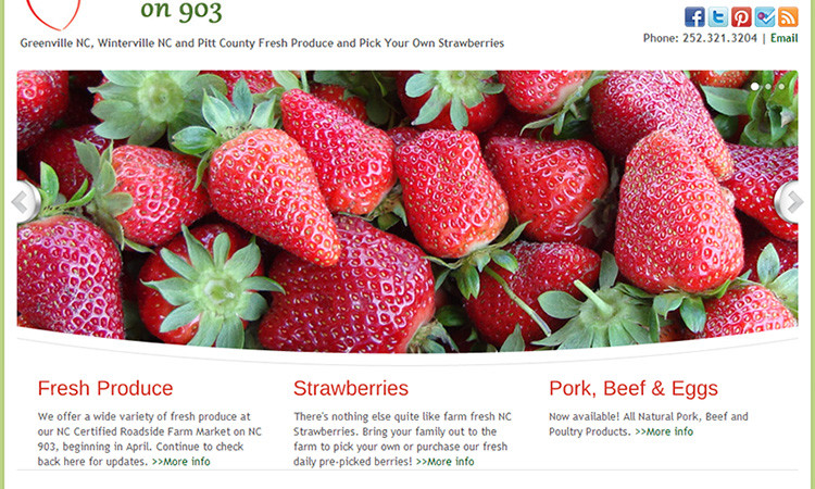 Strawberries on 903 Farm Website Design