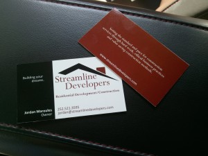 Streamline Developers Contractor Business Card Design